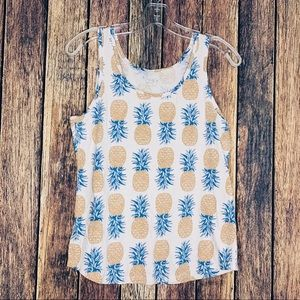LOFT Ann Taylor tank pineapple print on white